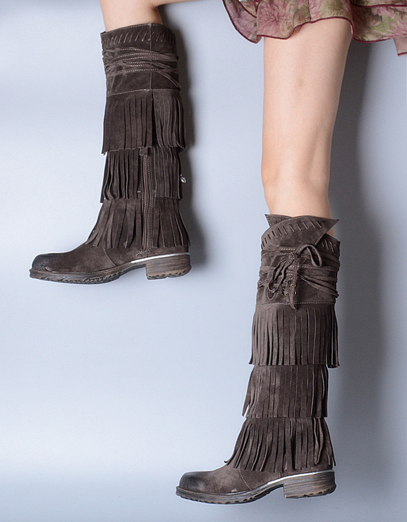 Newest Fashion Design Lace-Up Knee High Fringed Boots Tassel Decorated Women Flat Heels Shoes Botas Mujer Autumn Winter st decorated up