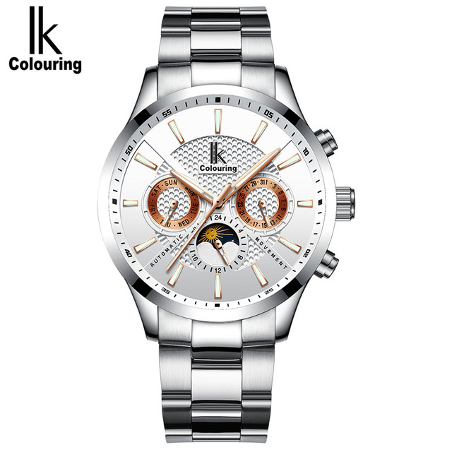 Skeleton Automatic Watch Men IK colouring Fashion Waterproof men watches Relogio Automatico Masculino Stainless Steel watchbands | Fotoflaco.net