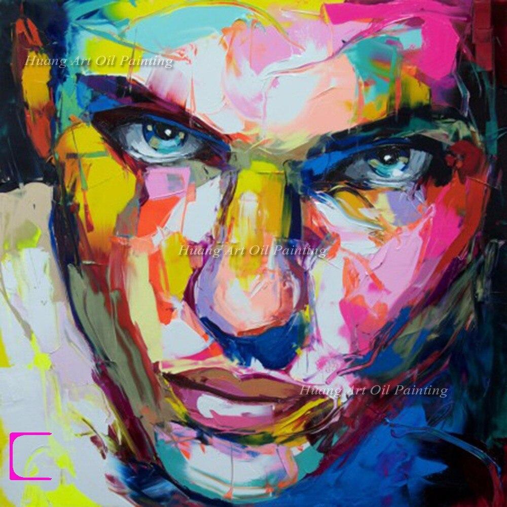 Fabuleux Peint à la main Palette Couteau Peinture Abstraite Homme et Femme  IT88