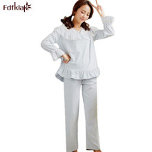 Fdfklak Mink Velvet Winter Pajamas Women Sweet Lace White Pajama Set Pyjamas Women Warm Sleepwear V-neck Ladies Pijamas Sets