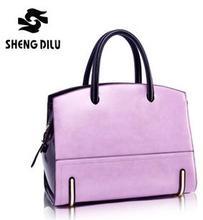 Lady's 100% Genuine Leather Single Shoulder Bag  Vintage Female Panelled Portable Bags Brief Colorful Tote Bag