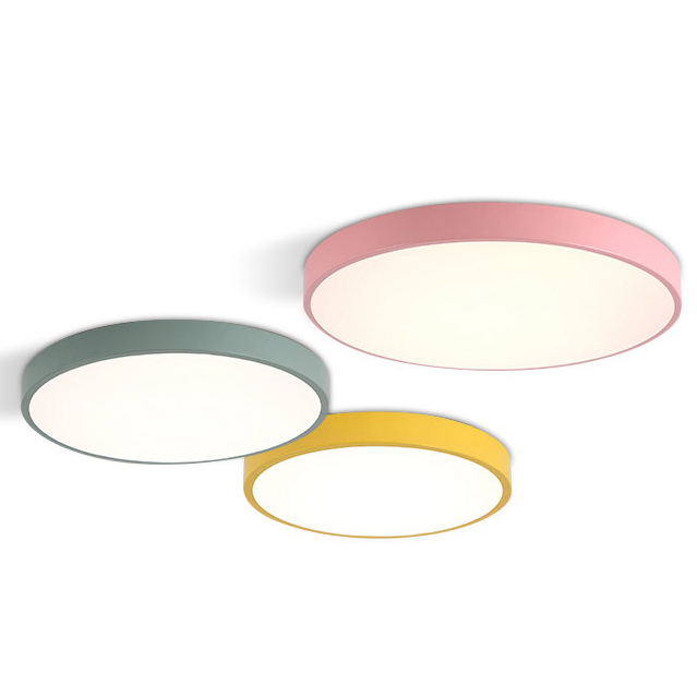 Modern Simple Promotion Macaron Ceiling Light Round Colors Iron Acrylic Lampshade Kids Room Lamp Led Lighting Fixture