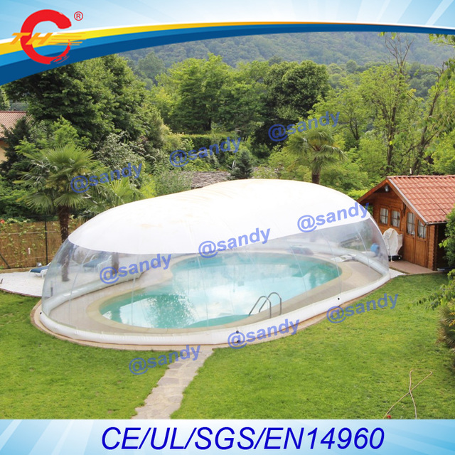 US $1600.0 |giant outdoor clear plastic inflatable swimming pool  cover,transparent inflatable pool ceiling bubble dome tent -in Inflatable  Bouncers ...