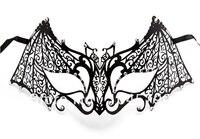 Envío gratis 1X hombre murciélago máscara veneciana diseño metálico Laser corte de Halloween mascarada máscaras de la bola con clara Rhinestone
