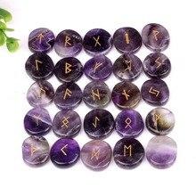 Chacra Set de piedras de runa y amatista Natural, Set de 25 uds. De piedras preciosas para decoración Feng Shui con bolsa de terciopelo