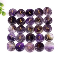 Natural Engraved Chakra Amethyst Rune Stones Set Gemstones Craft Feng Shui Decoration 25pcs Set with Velvet Bag