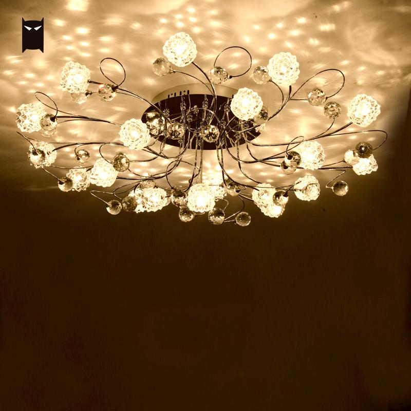 Big Round Chrome Iron Flower Crystal Chandelier Ceiling Fixture Contemporary Art Lustre Plafon Lighting for Living Room Bedroom chrome round crystal chandelier