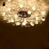 Gran candelabro redondo de hierro cromado con flores de cristal  accesorio de techo  iluminación de plafón de arte contemporáneo para sala de estar y dormitorio