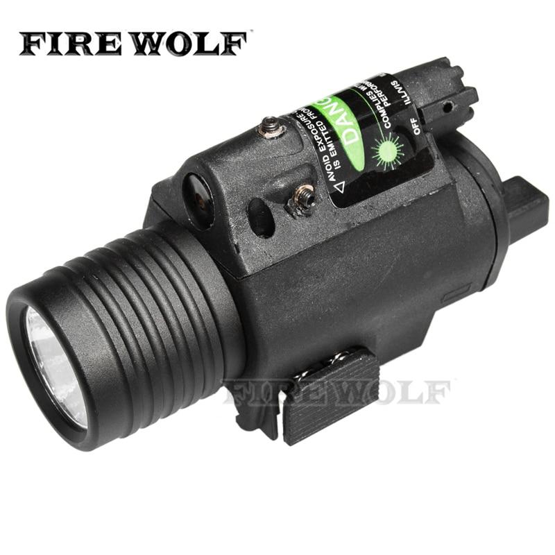 FEU LOUP 2in1 Combo Tactique CREE Q5 LED lampe de Poche/LUMIÈRE 200LM + Vert Laser Sight Pour Pistolet/gun arme de poing Pour Glock