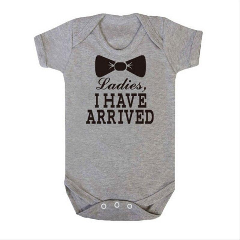 Bébé Fille Vêtements Infantile À Manches Courtes Combinaisons Lettre Dames Je Suis Arrivé En Bas Âge Salopette Infantil Nouveau-Né Vêtements
