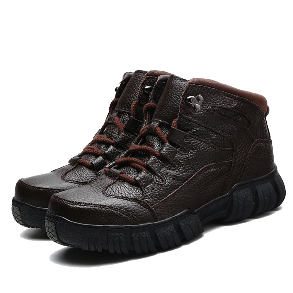 Militares Masculina Couro Sapatos Super Black Dos brown With brown Qffaz Homens Fur Pele Botas De Genuíno Fur Para Quentes Inverno black Opzwvfx