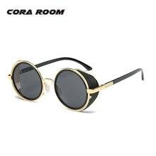 2017 nueva punk Retro CAPA mens Vintage Ronda Gafas de Sol hombres mujeres Marca Diseñador Gafas de Sol gafas De Sol Oculos Feminino