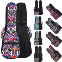 21 23 26 Inch Double Strap Hand Folk Canvas Ukulele Carry Bag Cotton Padded Case For