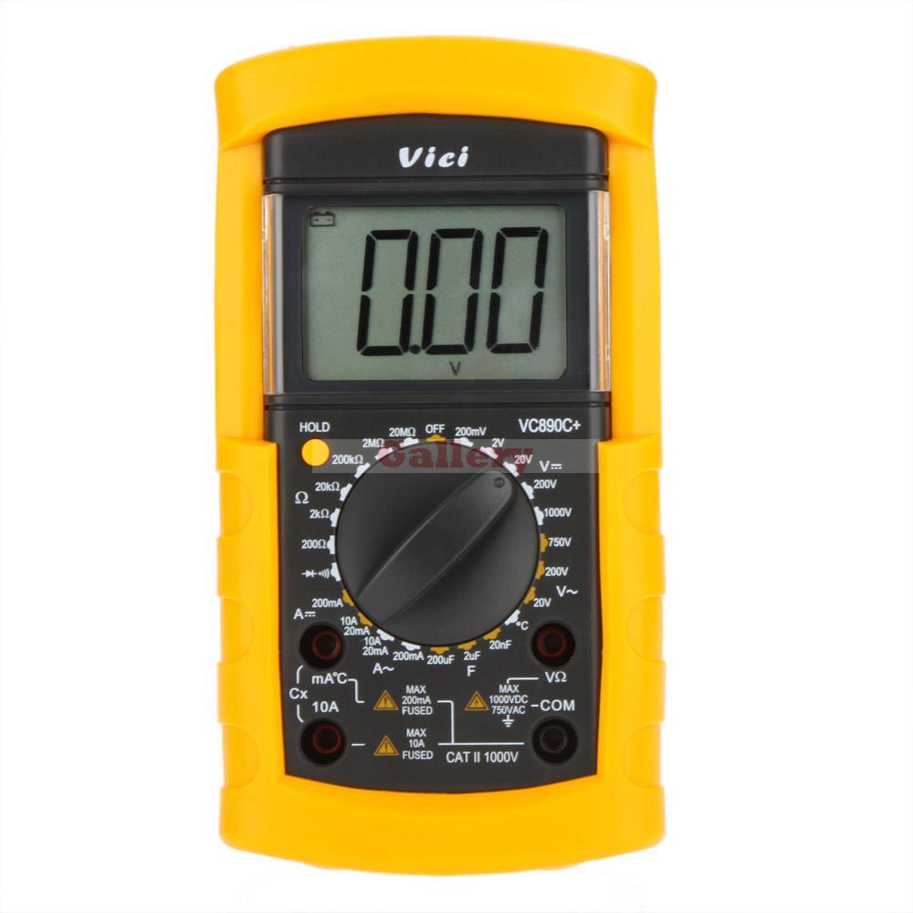 Vici VICHY VC890C+ LCD Digital Multimeter DMM Ammeter Voltmeter Ohmmeter W/ Capacitance & Temperature Test