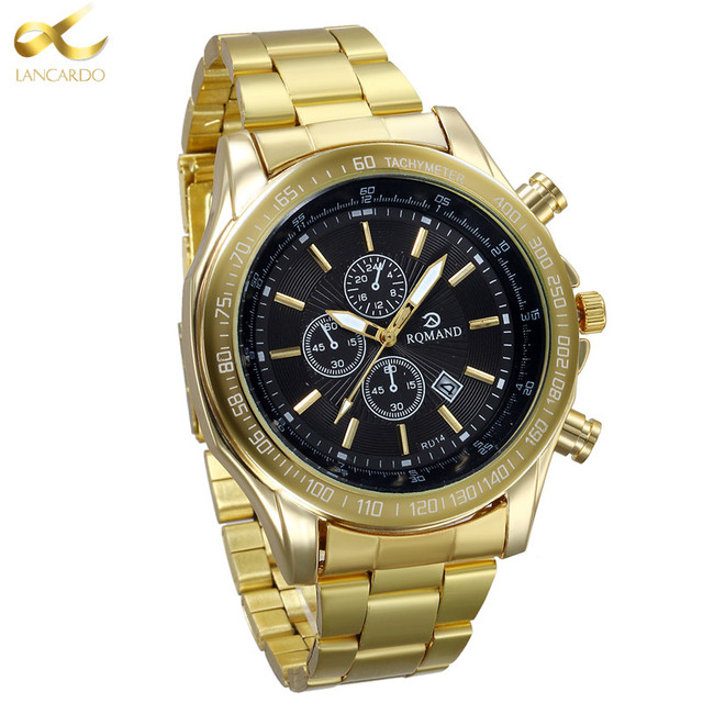 Bien connu Lancardo Horloge Mode Hommes Montre Plein or En Acier Inoxydable  VS72
