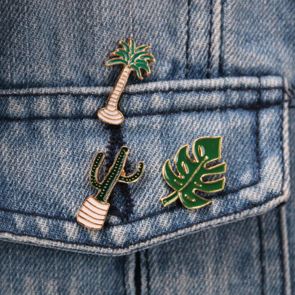 Lovely Badge Plant Potted Clothes Neckline Brooch Coconut Tree Cactus Pins Button Pins Decorative Clothing Cartoon Pins Badge