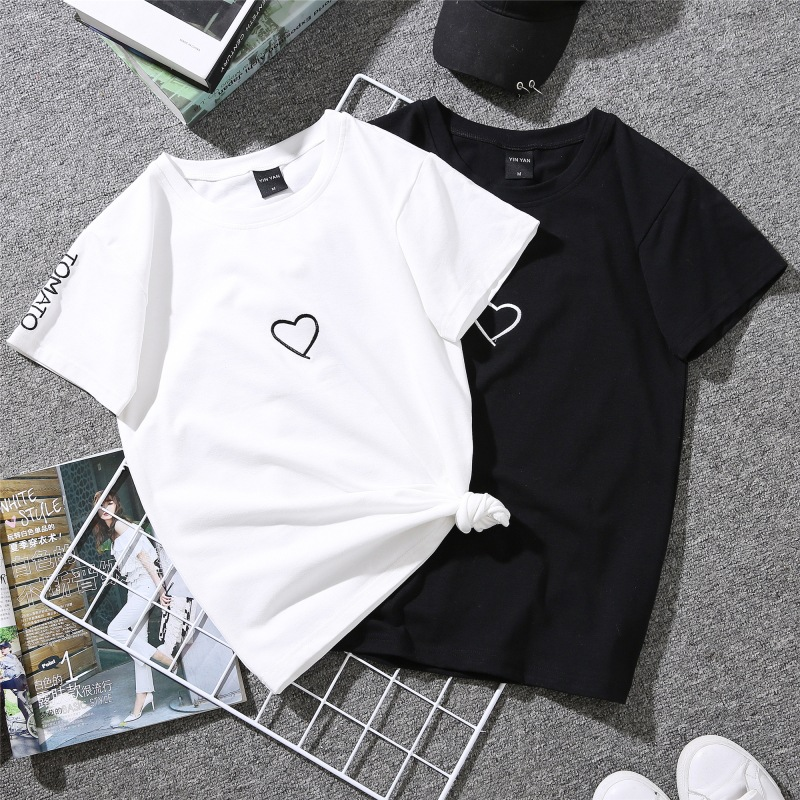 2019 Summer Couples Lovers   T  -  Shirt   for Lady Student Casual White Tops Women   T     Shirt   Love Heart Embroidery Print Tshirt Female