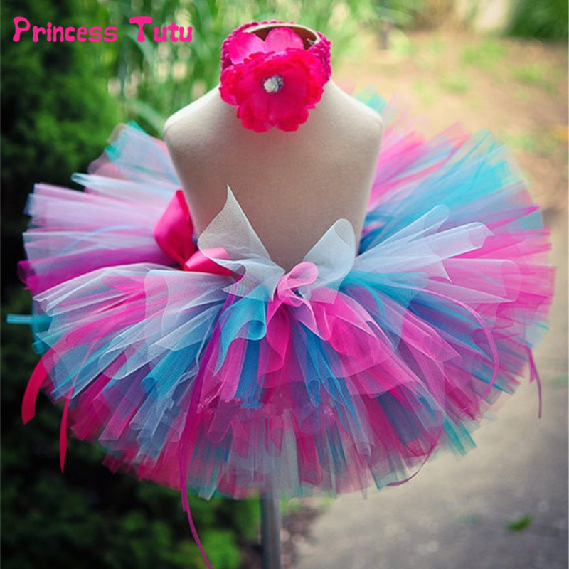 Handmade Fluffy Kids Girls Tutu Skirt Rainbow Tutu Multilayer Baby Tulle Skirt Birthday Party Tutus Pettiskirts Girls Skirts cute girls purple long tutus dress kids handmade fluffy tulle princess dress with flower satin bow children party tutus 1pcs