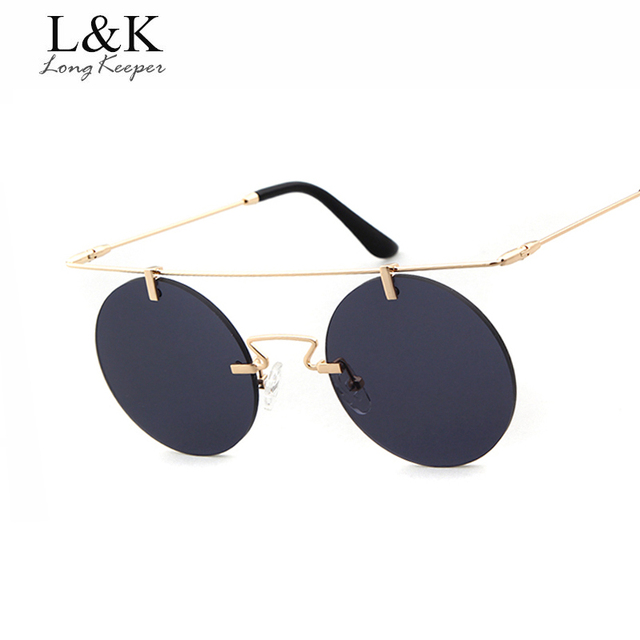 470267b1f2 Long Keeper Brand Cool Men Punk Sunglasses Stylish Male Steampunk Sun  Glasses Round Lens Glasses Double