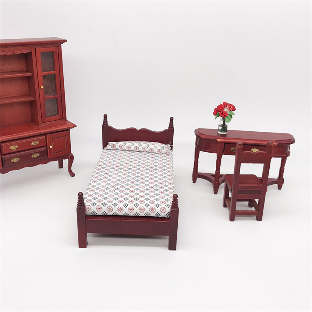 Collectible 1//25 Dollhouse Furniture Single Bed Model DIY Bedroom Accessory