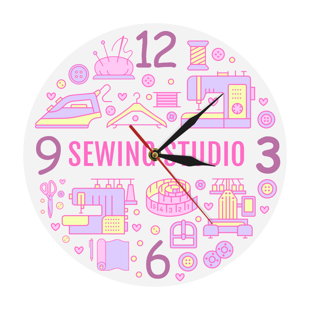 Sewing Studio Printed Wall Clock Quilting Sewing Room Quilt Seamstress Gift Sign Wall Clock Craft Room Crafting Supplies Watch