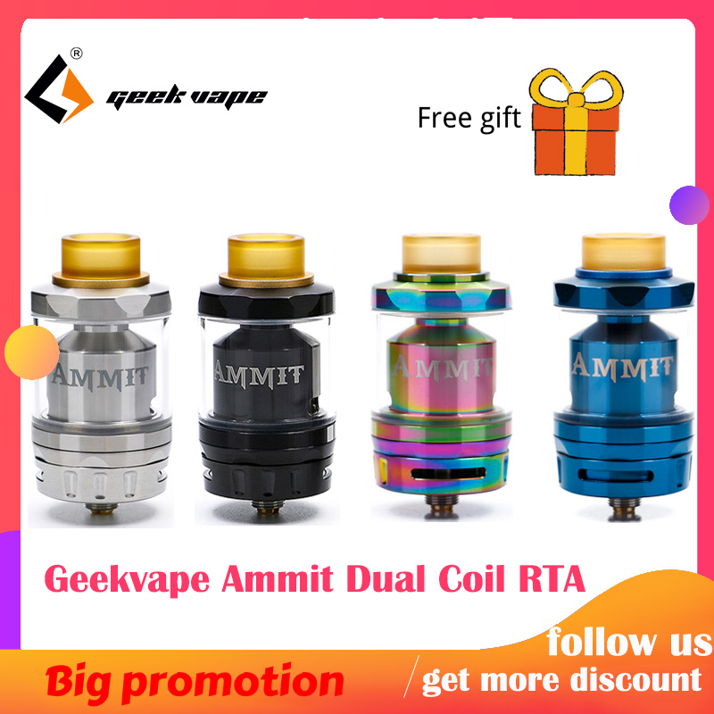 Geekvape Ammit Dual Coil RTA Tank 3ml/6ml Capacity Support Both Dual And Single Coil Ammit Tank For Box Mod