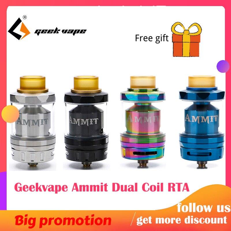 Geekvape Ammit double bobine RTA réservoir 3 ml/6 ml capacité de soutien à la fois double et simple bobine Ammit réservoir pour boîte mod