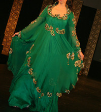 2016 Fancy Abaya Dubai Kaftan Muslim Maxi Long Sleeve Chiffon Islamic Women Dress Crystal Beaded Formal Arabic Evening Gowns