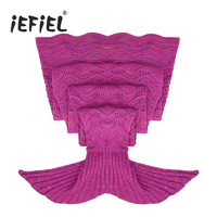 Hot Pink Fuchsia Blue Handcrafted Crochet Knitted Mermaid Tail Sofa Blanket Sleeping Bag For Adults Costumes