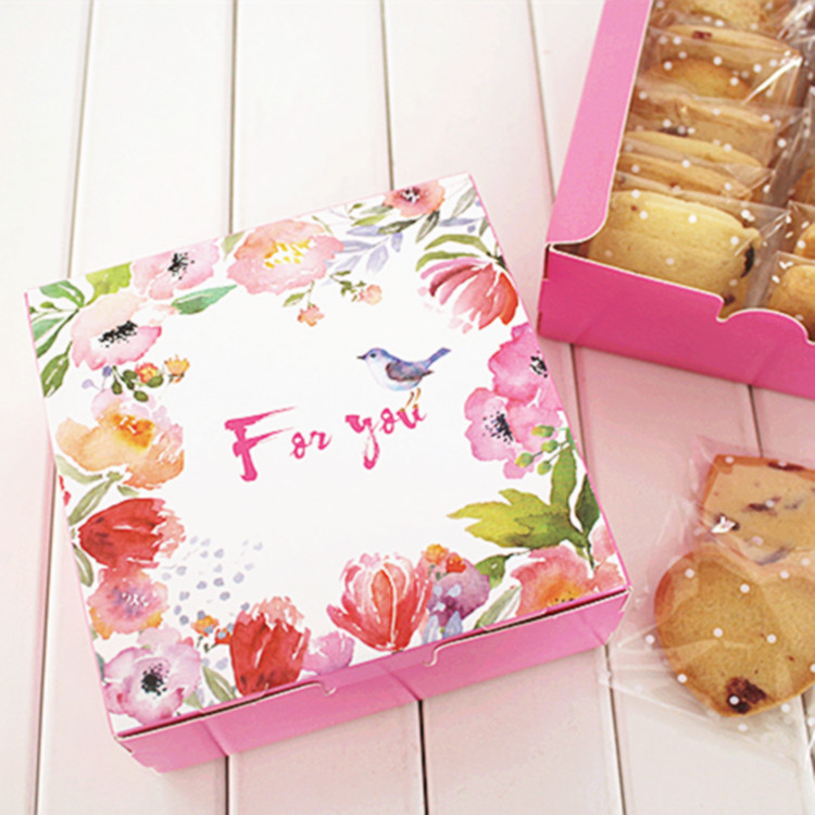Christmas Cake Packaging Ideas : Hot Sale 12*12*4.5cm10pcs pink bird srping design Cheese ...