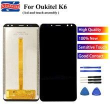 """Kospplhz 100% testado para oukitel k6 display lcd + montagem do sensor de tela toque digitador substituição 5.99 """"oukitel k6 telefone celular"""