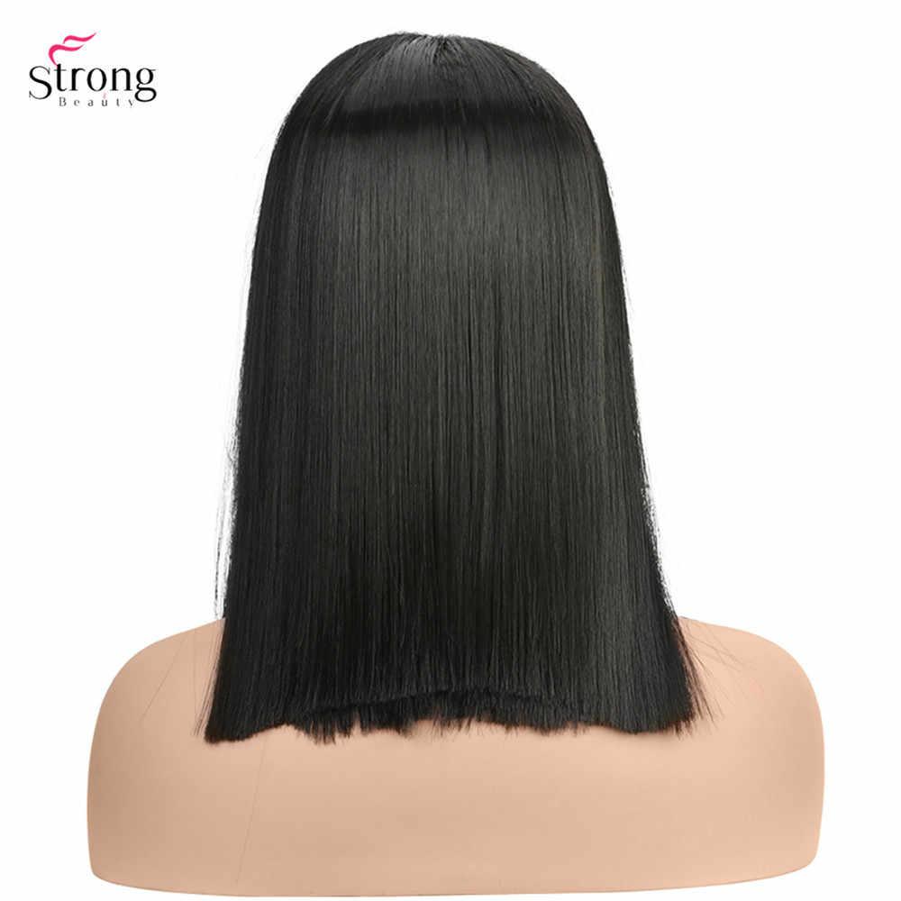 """StrongBeauty 14 """"Синтетические парики для женщин шелковистые прямые волосы черный синтетический парик «пучок»"""