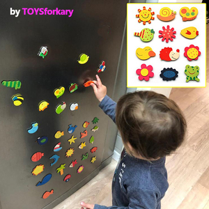 1Set Wooden Refrigerator Magnet Fridge Stickers Animal Cartoon Alphabet Numbers Colorful Kids Toys for Children Baby Educational(China)