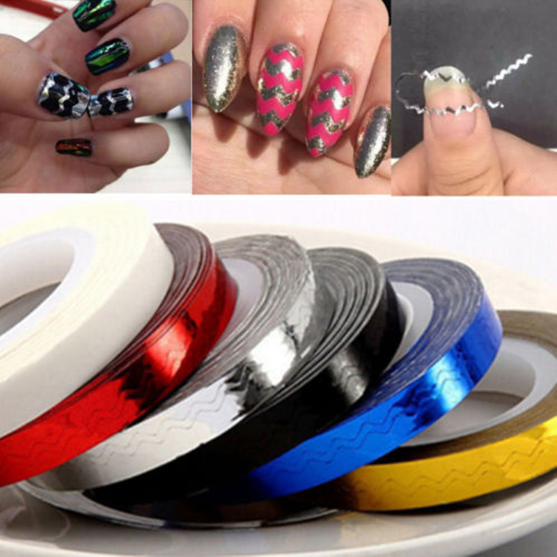 Fashion 6 Colors Rolls Striping Tape Line Nail Art Templates Decoration Stickers Tools Glitter Forms For Aliexpress Mobile
