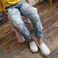 Nueva pantalones vaqueros rasgados para los niños Casual Regular niñas y niños Unisex vaqueros Fille Enfants Jeans Jeans 6J013