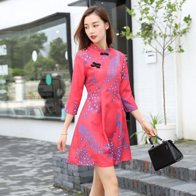2018 winter Cotton Above-knee Dress Half-sleeve Print Cheongsam Ladies Qipao Party Dress Chinese Traditional Dress