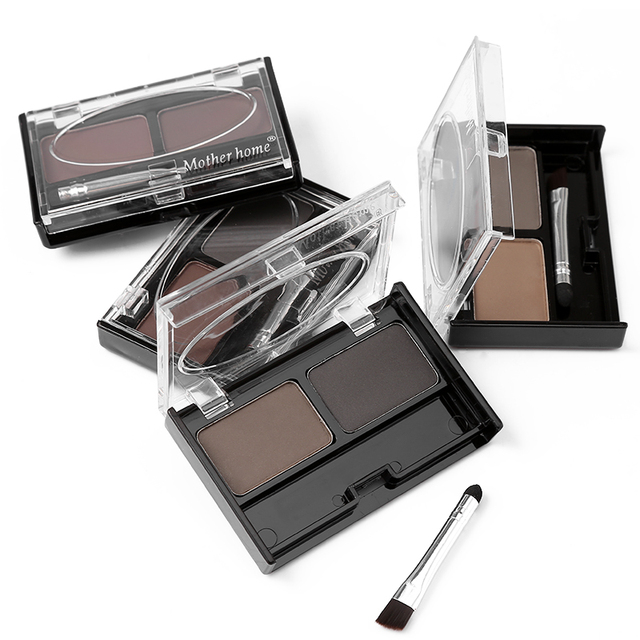 Brand Double Color Eyebrow Powder Makeup Palette Natural Brown Eye Brow Enhancers 3D Eye Brows Shadow Cake Beauty Kit with Brush 4