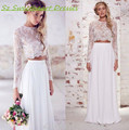 Boho Two Piece Beach Wedding Dress Women Long Sleeves Romantic Sheer Lace 2016 Summer Dresses For Bridal Gowns Vestido De Noiva