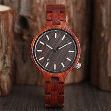 De las mujeres de la moda reloj Natural Sandalia de madera de bambú de madera Relojes de señoras reloj de pulsera reloj de cuarzo analógico Casual Relojes