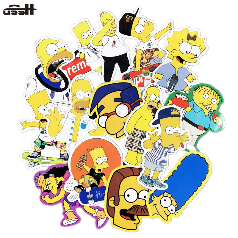 25 Pcs Simpson Tid Brand Cartoon Pvc Sticker Toy Decal For Car Laptop Luggage Bicycle Guitar