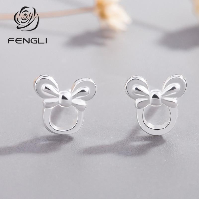 FENGLI Romantic Design Cartoon Mickey Minnie Stud Earring for Women Tiny Animal Lovely Girl Kid 2019 Silver Jewelry