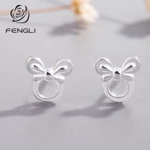 FENGLI Romantic Design Cartoon Mickey Minnie Stud Earring for Women Tiny Animal Lovely Girl Kid 2019 Silver Jewelry