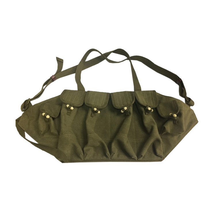 Cotton Canvas Molle Military Equipment Combat Surplus Ammo 6 Magazines Pouch AK Chest Rig Vest