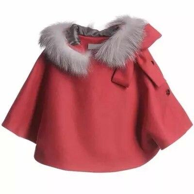 ФОТО Cape coat winter girl red coats kids Winter Christmas New Year Warm hooded cotton  coat 3-12 years