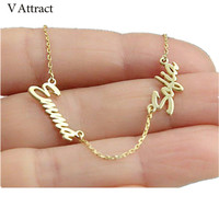 V Attract Best Friends Personalized Two Name Necklace BFF Jewelry Stainless Steel Chain Nameplate Colar Custom