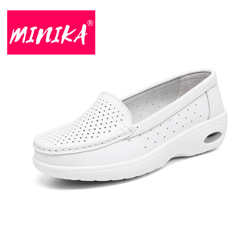 MINIKA Slip on Women Casual Shoes Solid Colors Soft & Comfortable Women Loafers Shoes Breathable Durable Women Flat Shoes 35-40 minika breathable mesh lace shoes women thick bottom shallow mouth women casual shoes slip on flat shoes women high quality