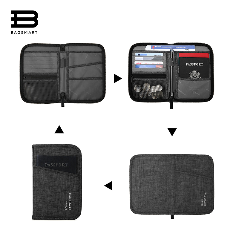 BAGSMART Multifunction Travel Passport Bag RFID Passport ID Card Holder Bank Card Bag Clutch Holder Zipper Case Purse