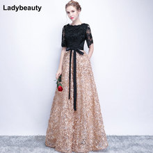 Ladybeauty Vintage Black A-Line Lace Long Evening Dresses Half Sleeves Beaded scoop neck long appliques evening dress prom dress cheap V-Neck NONE Floor-Length Satin Polyester spandex COTTON Formal Evening Sashes REGULAR Sleeveless Backless Natural