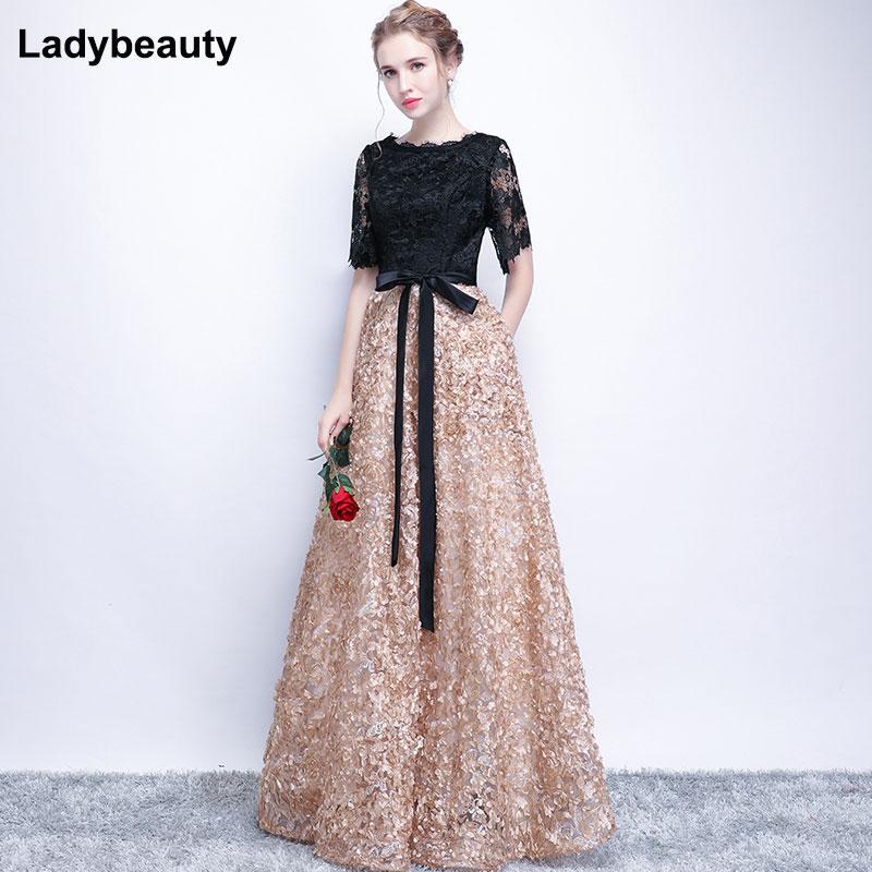 Ladybeauty Vintage Black A-Line Lace Long Evening Dresses Half Sleeves Beaded Scoop Neck Long Appliques Evening Dress Prom Dress