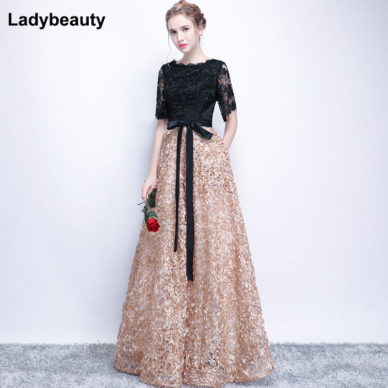 Ladybeauty Vintage Black A-Line Lace Long   Evening     Dresses   Half Sleeves Beaded scoop neck long appliques   evening     dress   prom   dress